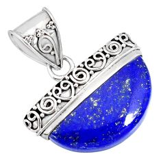 14.01cts natural blue lapis lazuli 925 sterling silver handmade pendant r85045