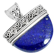 18.15cts natural blue lapis lazuli 925 sterling silver handmade pendant r85046