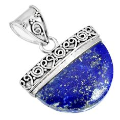 15.85cts natural blue lapis lazuli 925 sterling silver handmade pendant r85047