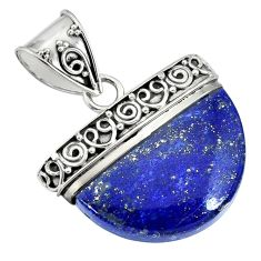 17.20cts natural blue lapis lazuli 925 sterling silver handmade pendant r85061