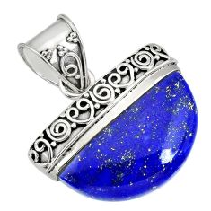 14.90cts natural blue lapis lazuli 925 sterling silver handmade pendant r85062