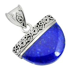 16.70cts natural blue lapis lazuli 925 sterling silver handmade pendant r85063