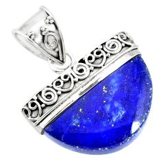 15.47cts natural blue lapis lazuli 925 sterling silver handmade pendant r86231