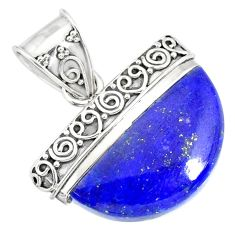 15.11cts natural blue lapis lazuli 925 sterling silver handmade pendant r86234