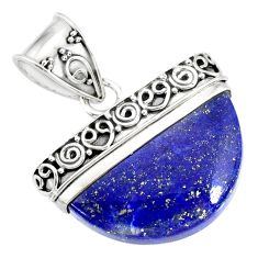 16.35cts natural blue lapis lazuli 925 sterling silver handmade pendant r86235