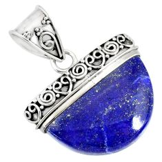 15.69cts natural blue lapis lazuli 925 sterling silver handmade pendant r86237