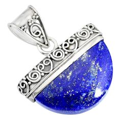15.75cts natural blue lapis lazuli 925 sterling silver handmade pendant r86238