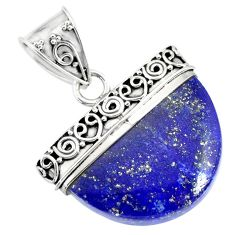 16.77cts natural blue lapis lazuli 925 sterling silver handmade pendant r86240
