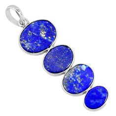 8.84cts natural blue lapis lazuli 925 sterling silver pendant jewelry r87838