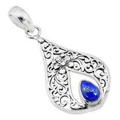 1.56cts natural blue lapis lazuli 925 sterling silver pendant jewelry t10703