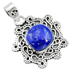 5.06cts natural blue lapis lazuli 925 sterling silver pendant jewelry t14524