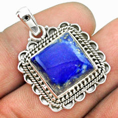 11.02cts natural blue lapis lazuli 925 sterling silver pendant jewelry t53138