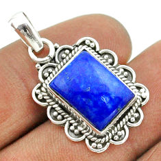 6.33cts natural blue lapis lazuli 925 sterling silver pendant jewelry t55982