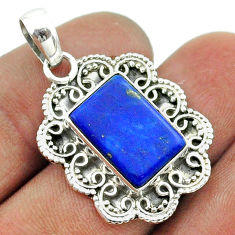 6.31cts natural blue lapis lazuli 925 sterling silver pendant jewelry t55985