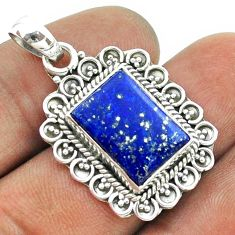 6.58cts natural blue lapis lazuli 925 sterling silver pendant jewelry t55987