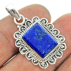 5.75cts natural blue lapis lazuli 925 sterling silver pendant jewelry t56006