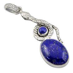 14.88cts natural blue lapis lazuli 925 sterling silver snake pendant d47261