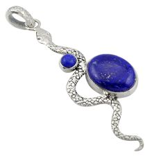 10.35cts natural blue lapis lazuli 925 sterling silver snake pendant d47265