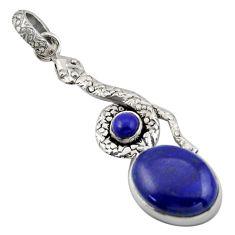 10.35cts natural blue lapis lazuli 925 sterling silver snake pendant d47266