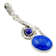 11.02cts natural blue lapis lazuli 925 sterling silver snake pendant d47281