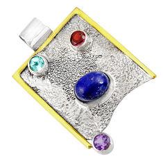 Clearance Sale- 5.83cts natural blue lapis lazuli amethyst 925 silver 14k gold pendant d39157