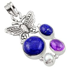 10.33cts natural blue lapis lazuli amethyst 925 silver butterfly pendant d47241