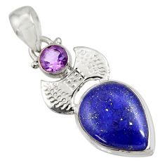 Clearance Sale- 13.77cts natural blue lapis lazuli amethyst 925 sterling silver pendant d43828
