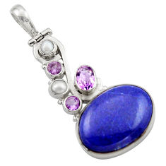 18.16cts natural blue lapis lazuli amethyst 925 sterling silver pendant d46746