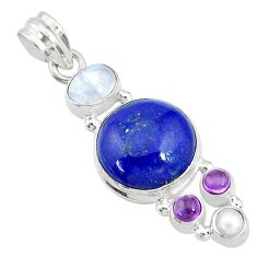 15.36cts natural blue lapis lazuli amethyst 925 sterling silver pendant t10662