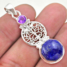 6.54cts natural blue lapis lazuli amethyst silver tree of life pendant t46381