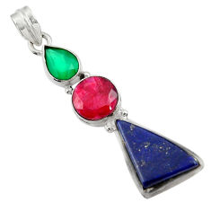 Clearance Sale- 17.93cts natural blue lapis lazuli chalcedony ruby 925 silver pendant d43855