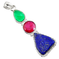 blue lapis lazuli chalcedony ruby 925 silver pendant d43859