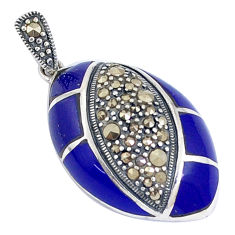 7.89cts natural blue lapis lazuli marcasite enamel 925 silver pendant c16748