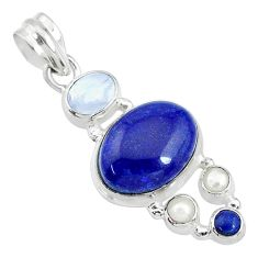 13.09cts natural blue lapis lazuli moonstone 925 sterling silver pendant t10687