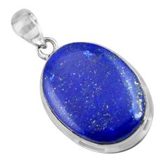 17.14cts natural blue lapis lazuli oval sterling silver pendant jewelry r36330