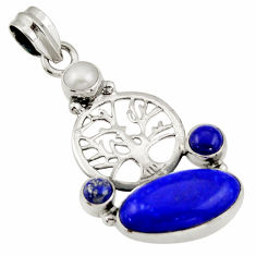 12.07cts natural blue lapis lazuli pearl 925 silver tree of life pendant d47259