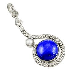 10.37cts natural blue lapis lazuli pearl 925 sterling silver pendant r42026