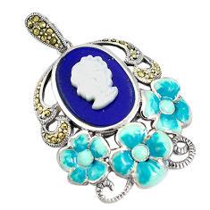 Natural blue lapis lazuli pearl enamel lady face 925 silver pendant c16670