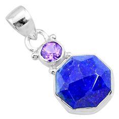 8.32cts natural blue lapis lazuli purple amethyst 925 silver pendant r73126