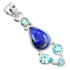 10.41cts natural blue lapis lazuli topaz 925 sterling silver pendant r20402