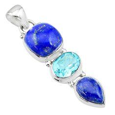 10.76cts natural blue lapis lazuli topaz 925 sterling silver pendant t18781
