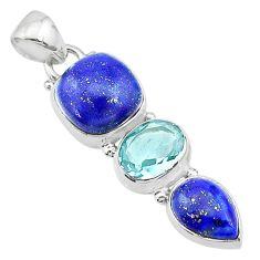 11.07cts natural blue lapis lazuli topaz 925 sterling silver pendant t18782