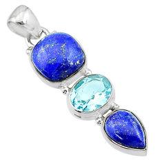 10.32cts natural blue lapis lazuli topaz 925 sterling silver pendant t18784