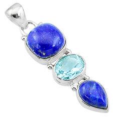 11.07cts natural blue lapis lazuli topaz 925 sterling silver pendant t18787