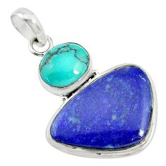 19.72cts natural blue lapis lazuli turquoise 925 sterling silver pendant t10669