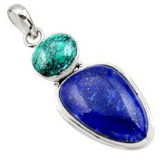 22.05cts natural blue lapis lazuli turquoise tibetan 925 silver pendant r32401