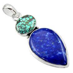 20.88cts natural blue lapis lazuli turquoise tibetan 925 silver pendant r32402