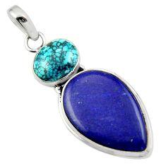 19.23cts natural blue lapis lazuli turquoise tibetan 925 silver pendant r32403