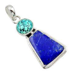 16.70cts natural blue lapis lazuli turquoise tibetan 925 silver pendant r32409