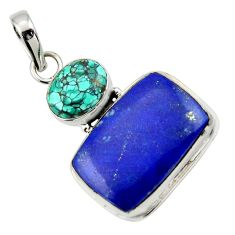 19.23cts natural blue lapis lazuli turquoise tibetan 925 silver pendant r32411